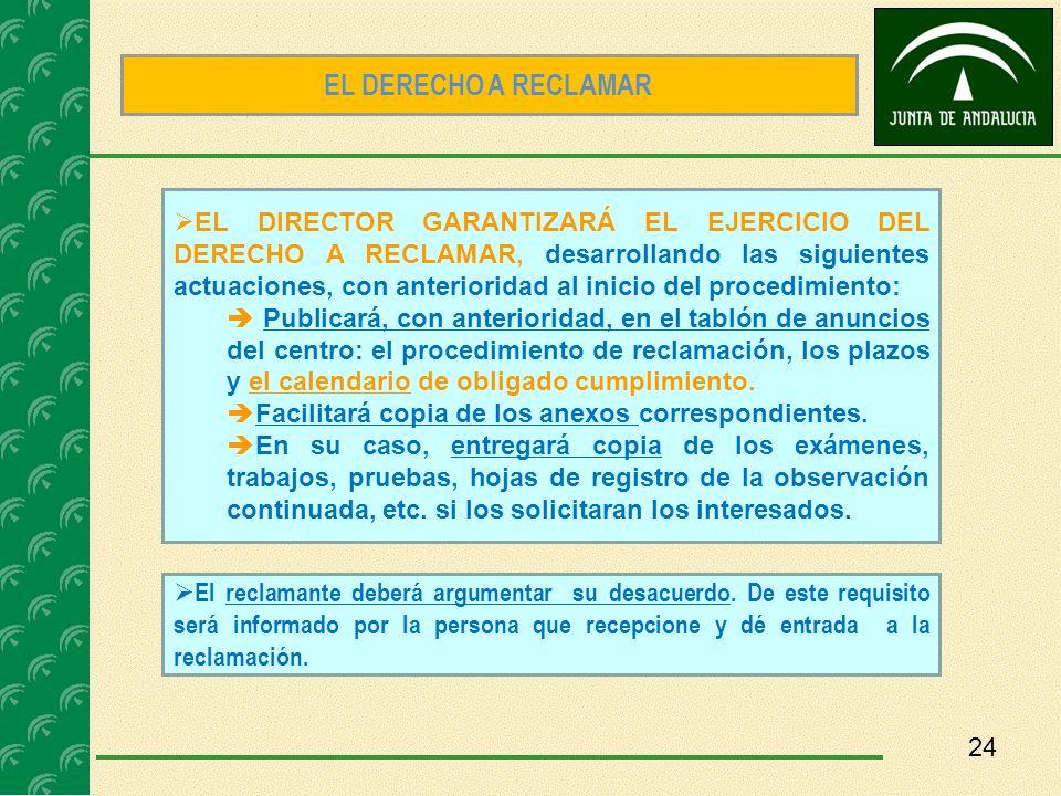 24 EL DIRECTOR GARANTIZARÁ EL EJERCICIO DEL DERECHO A RECLAMAR, desarrollando las siguientes actuaciones, con anterioridad al inicio del procedimiento