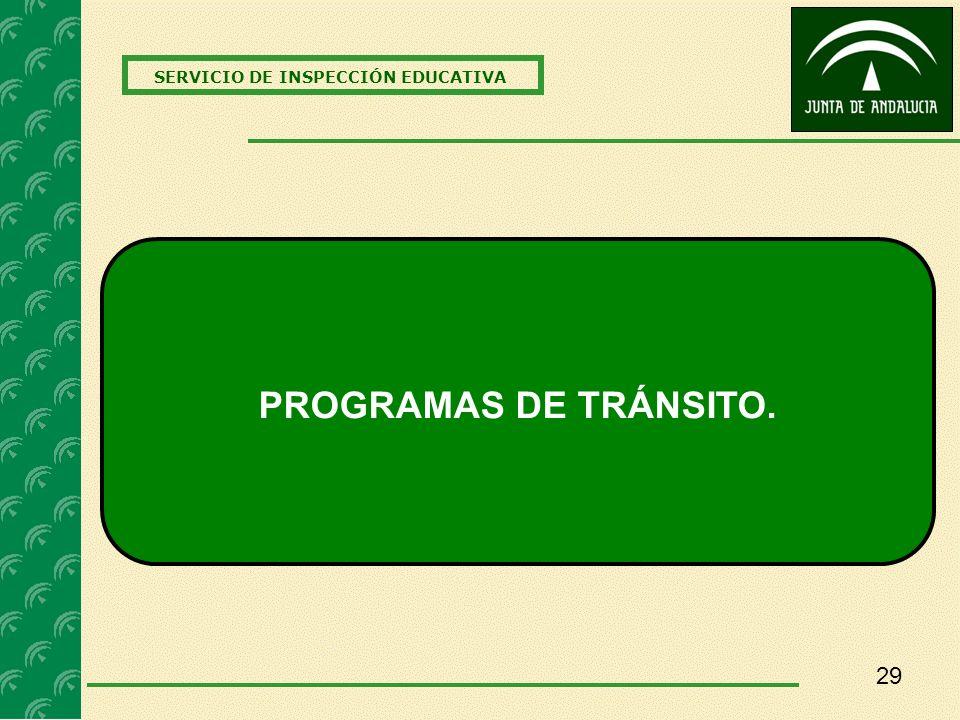 29 SERVICIO DE INSPECCIÓN EDUCATIVA PROGRAMAS DE TRÁNSITO.