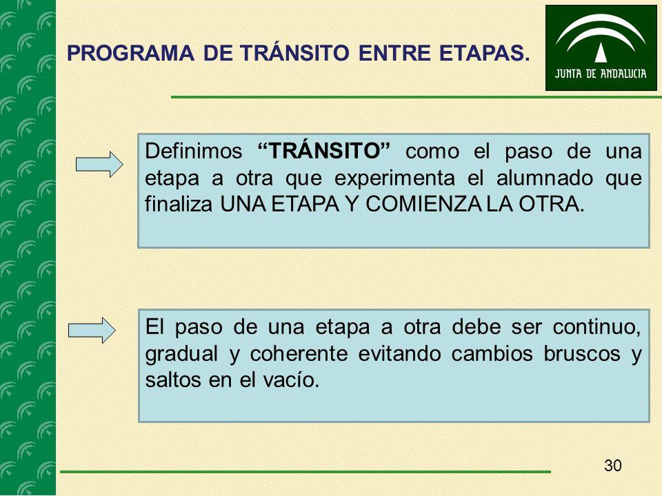 30 PROGRAMA DE TRÁNSITO ENTRE ETAPAS. Definimos TRÁNSITO como el paso de una etapa a otra que experimenta el alumnado que finaliza UNA ETAPA Y COMIENZ