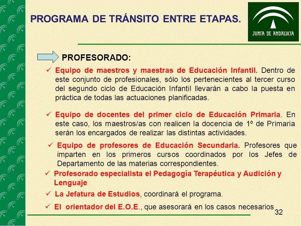 32 PROFESORADO: Equipo de maestros y maestras de Educación Infantil. Dentro de este conjunto de profesionales, sólo los pertenecientes al tercer curso