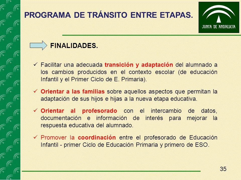 35 FINALIDADES. Facilitar una adecuada transición y adaptación del alumnado a los cambios producidos en el contexto escolar (de educación Infantil y e