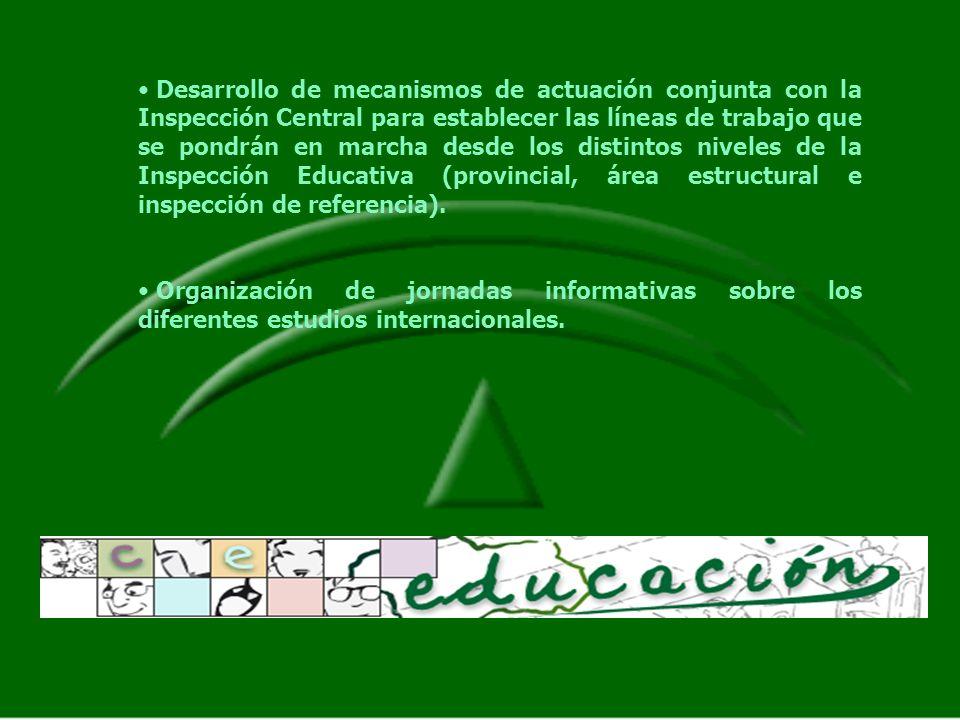 Desarrollo de mecanismos de actuación conjunta con la Inspección Central para establecer las líneas de trabajo que se pondrán en marcha desde los distintos niveles de la Inspección Educativa (provincial, área estructural e inspección de referencia).