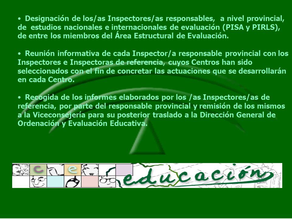 Designación de los/as Inspectores/as responsables, a nivel provincial, de estudios nacionales e internacionales de evaluación (PISA y PIRLS), de entre los miembros del Área Estructural de Evaluación.