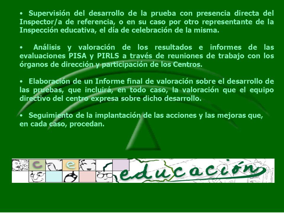 Supervisión del desarrollo de la prueba con presencia directa del Inspector/a de referencia, o en su caso por otro representante de la Inspección educativa, el día de celebración de la misma.