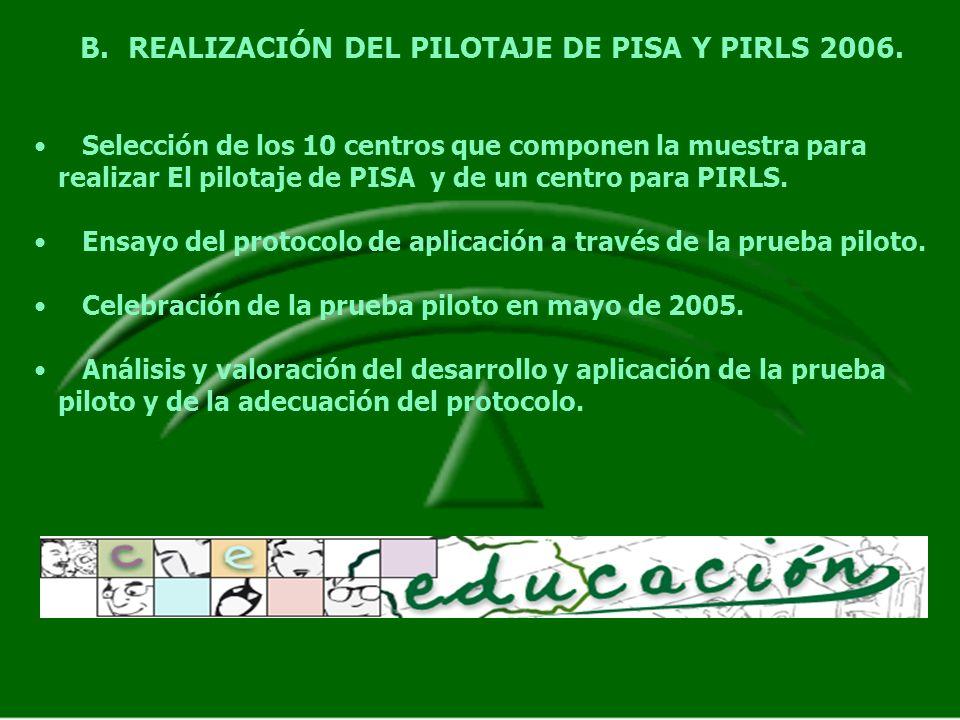B.REALIZACIÓN DEL PILOTAJE DE PISA Y PIRLS 2006. Selección de los 10 centros que componen la muestra para realizar El pilotaje de PISA y de un centro