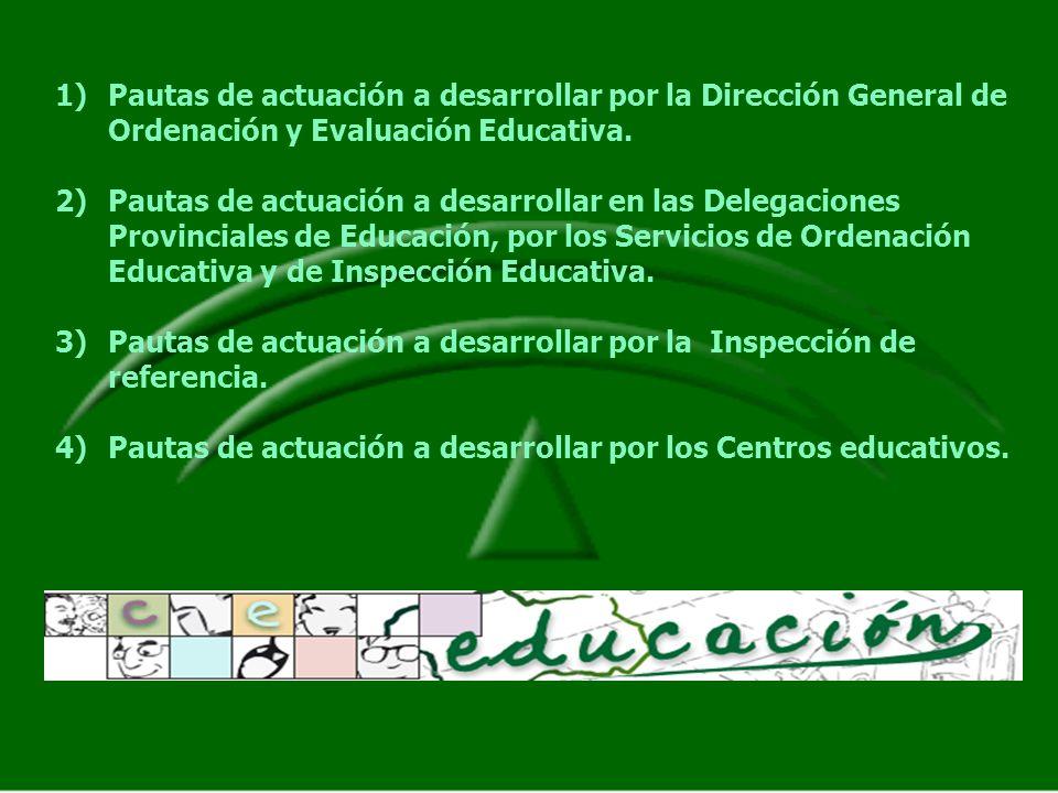 1)Pautas de actuación a desarrollar por la Dirección General de Ordenación y Evaluación Educativa. 2)Pautas de actuación a desarrollar en las Delegaci