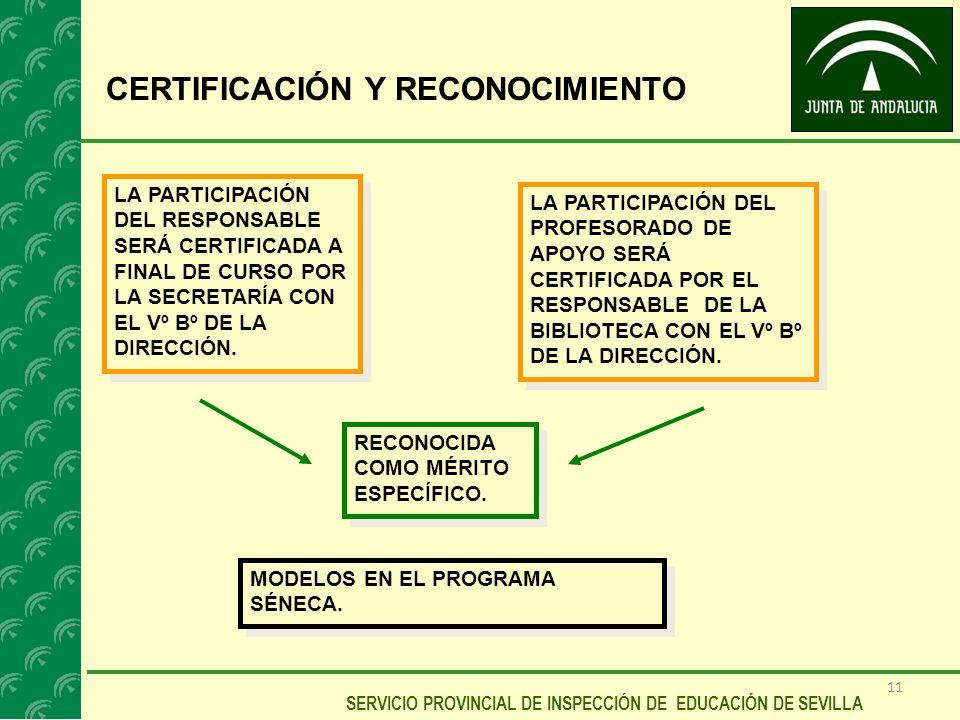 11 SERVICIO PROVINCIAL DE INSPECCIÓN DE EDUCACIÓN DE SEVILLA CERTIFICACIÓN Y RECONOCIMIENTO LA PARTICIPACIÓN DEL RESPONSABLE SERÁ CERTIFICADA A FINAL