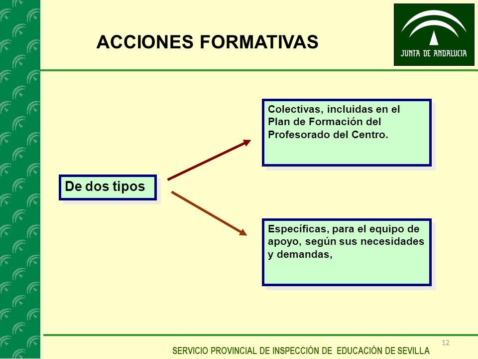 12 SERVICIO PROVINCIAL DE INSPECCIÓN DE EDUCACIÓN DE SEVILLA ACCIONES FORMATIVAS De dos tipos Colectivas, incluidas en el Plan de Formación del Profes