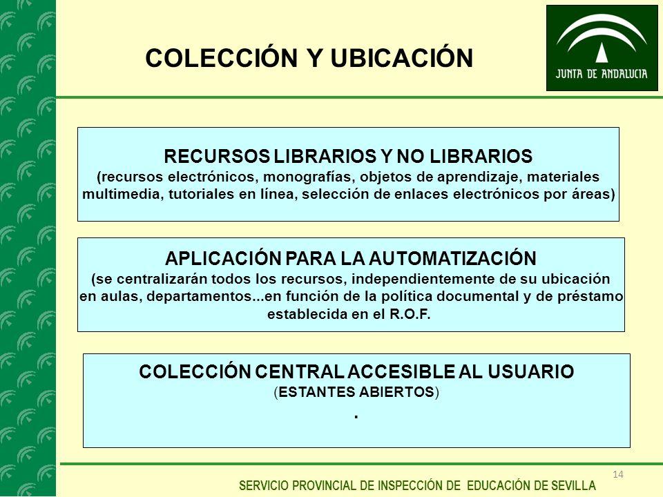 14 SERVICIO PROVINCIAL DE INSPECCIÓN DE EDUCACIÓN DE SEVILLA COLECCIÓN Y UBICACIÓN RECURSOS LIBRARIOS Y NO LIBRARIOS (recursos electrónicos, monografí