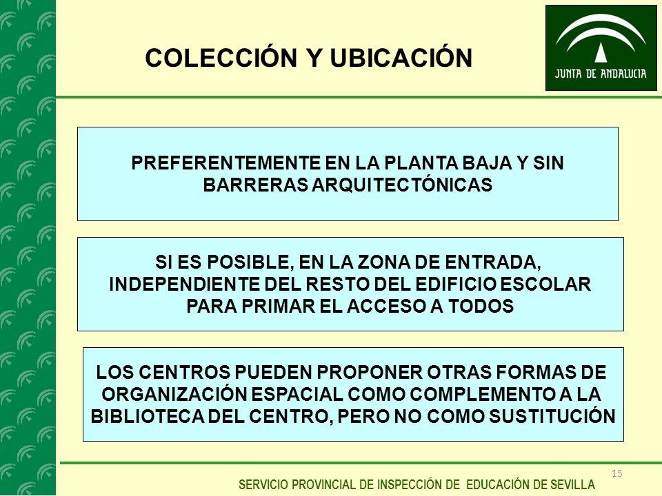 15 SERVICIO PROVINCIAL DE INSPECCIÓN DE EDUCACIÓN DE SEVILLA COLECCIÓN Y UBICACIÓN PREFERENTEMENTE EN LA PLANTA BAJA Y SIN BARRERAS ARQUITECTÓNICAS SI