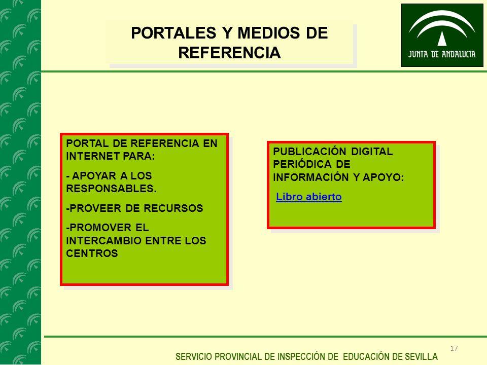 17 SERVICIO PROVINCIAL DE INSPECCIÓN DE EDUCACIÓN DE SEVILLA PORTALES Y MEDIOS DE REFERENCIA PORTAL DE REFERENCIA EN INTERNET PARA: - APOYAR A LOS RES