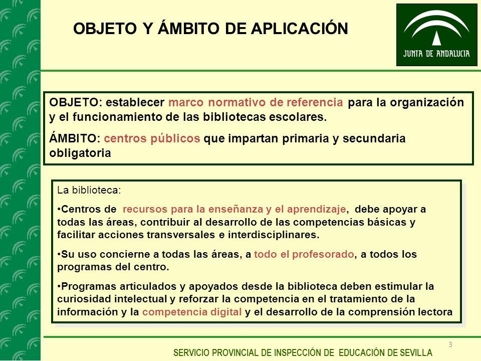 3 SERVICIO PROVINCIAL DE INSPECCIÓN DE EDUCACIÓN DE SEVILLA OBJETO Y ÁMBITO DE APLICACIÓN OBJETO: establecer marco normativo de referencia para la org