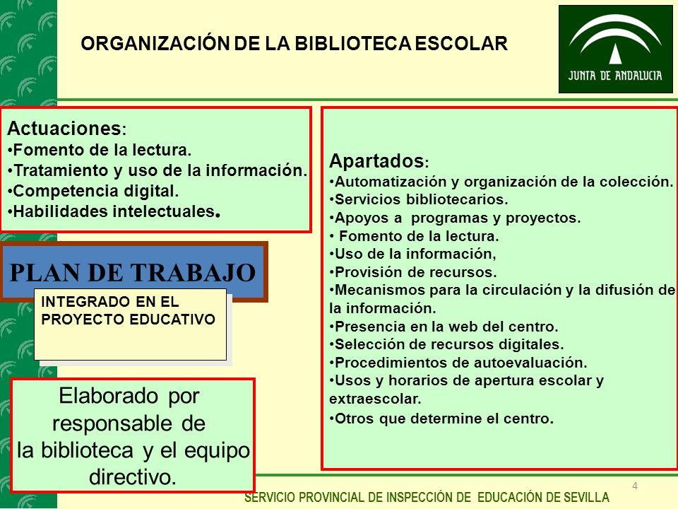 4 SERVICIO PROVINCIAL DE INSPECCIÓN DE EDUCACIÓN DE SEVILLA ORGANIZACIÓN DE LA BIBLIOTECA ESCOLAR PLAN DE TRABAJO Actuaciones : Fomento de la lectura.