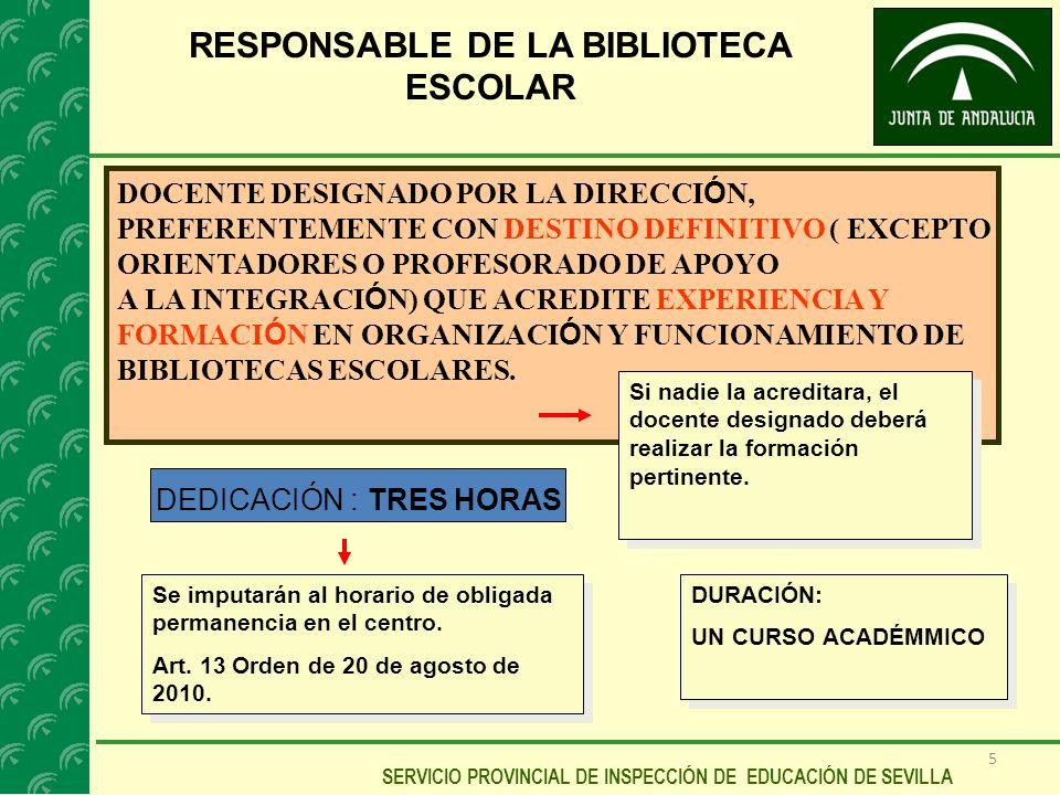 5 SERVICIO PROVINCIAL DE INSPECCIÓN DE EDUCACIÓN DE SEVILLA RESPONSABLE DE LA BIBLIOTECA ESCOLAR DOCENTE DESIGNADO POR LA DIRECCI Ó N, PREFERENTEMENTE