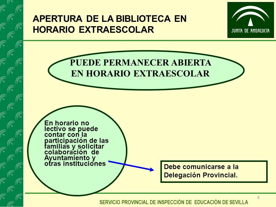 8 SERVICIO PROVINCIAL DE INSPECCIÓN DE EDUCACIÓN DE SEVILLA APERTURA DE LA BIBLIOTECA EN HORARIO EXTRAESCOLAR PUEDE PERMANECER ABIERTA EN HORARIO EXTR