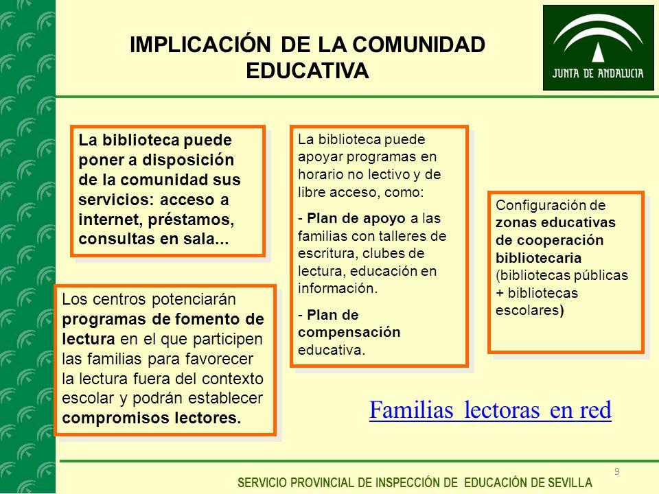 9 SERVICIO PROVINCIAL DE INSPECCIÓN DE EDUCACIÓN DE SEVILLA IMPLICACIÓN DE LA COMUNIDAD EDUCATIVA La biblioteca puede poner a disposición de la comuni