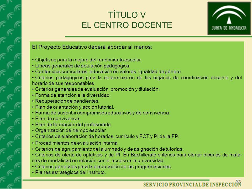 TÍTULO V EL CENTRO DOCENTE El Proyecto Educativo deberá abordar al menos: Objetivos para la mejora del rendimiento escolar. Líneas generales de actuac