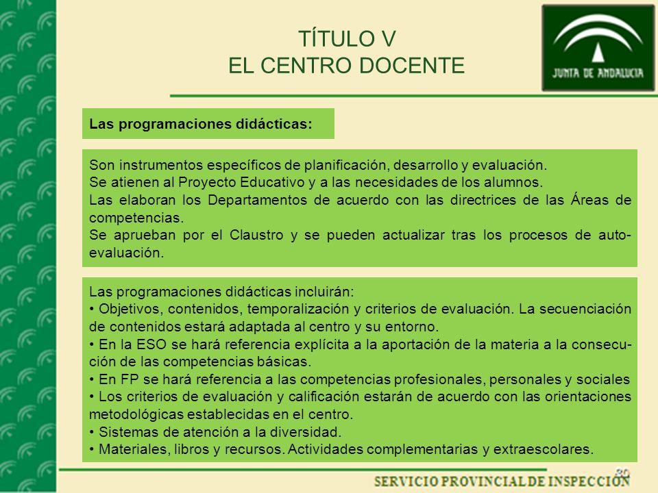 TÍTULO V EL CENTRO DOCENTE Las programaciones didácticas: Son instrumentos específicos de planificación, desarrollo y evaluación. Se atienen al Proyec