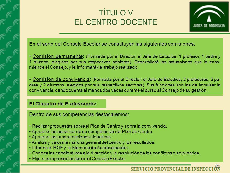 TÍTULO V EL CENTRO DOCENTE En el seno del Consejo Escolar se constituyen las siguientes comisiones: Comisión permanente: (Formada por el Director, el Jefe de Estudios, 1 profesor, 1 padre y 1 alumno, elegidos por sus respectivos sectores).