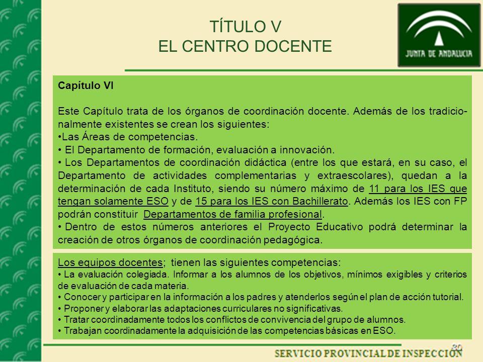TÍTULO V EL CENTRO DOCENTE Capítulo VI Este Capítulo trata de los órganos de coordinación docente.