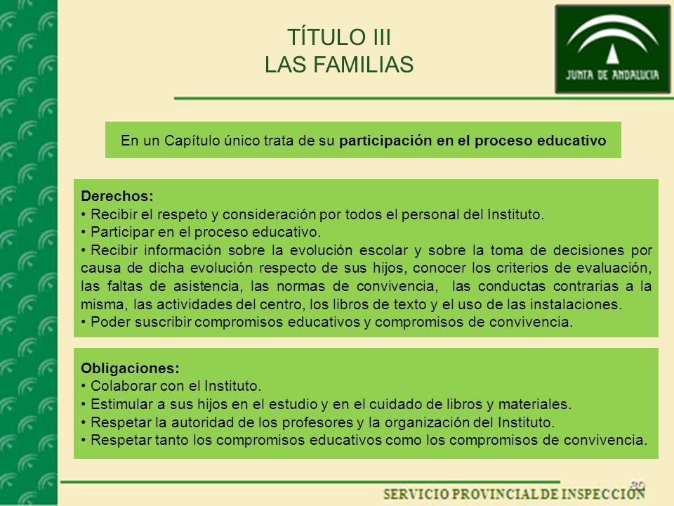 TÍTULO III LAS FAMILIAS En un Capítulo único trata de su participación en el proceso educativo Derechos: Recibir el respeto y consideración por todos