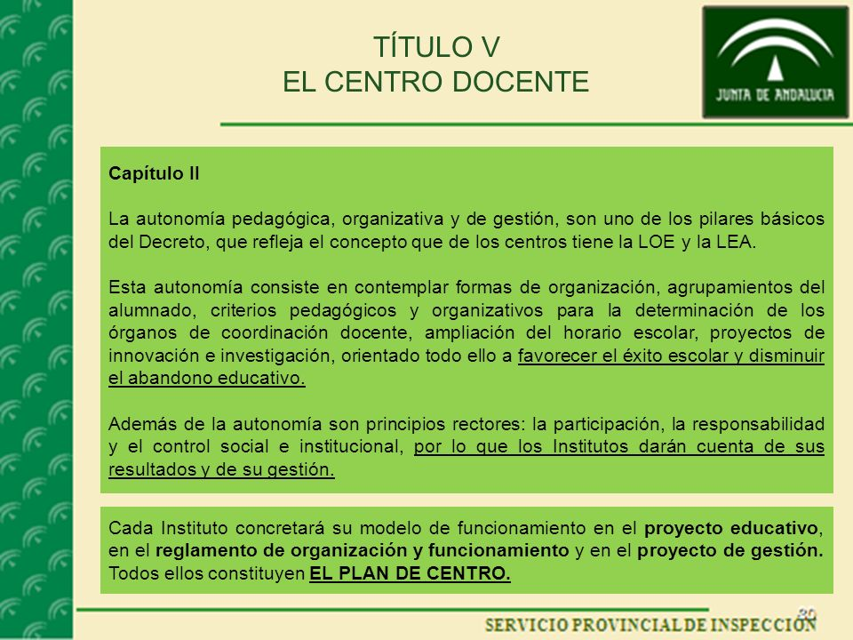 TÍTULO V EL CENTRO DOCENTE Capítulo II La autonomía pedagógica, organizativa y de gestión, son uno de los pilares básicos del Decreto, que refleja el