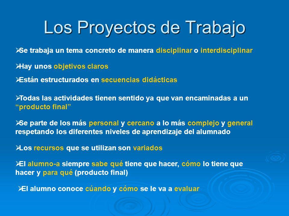 Los Proyectos de Trabajo Se trabaja un tema concreto de manera disciplinar o interdisciplinar Hay unos objetivos claros Están estructurados en secuenc