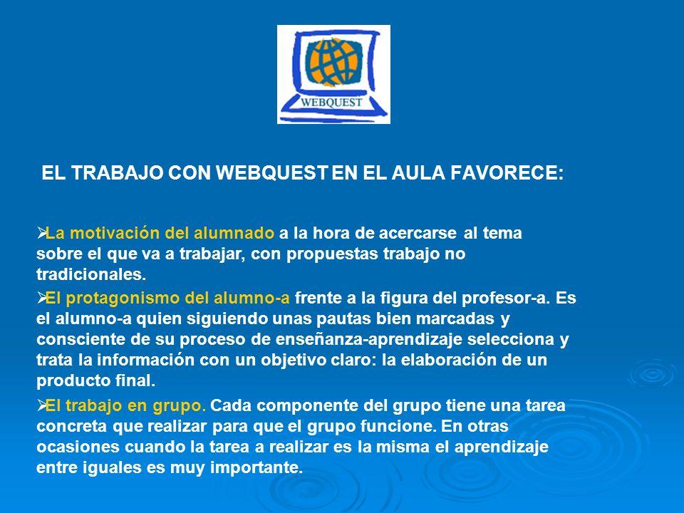 EL TRABAJO CON WEBQUEST EN EL AULA FAVORECE: La motivación del alumnado a la hora de acercarse al tema sobre el que va a trabajar, con propuestas trab