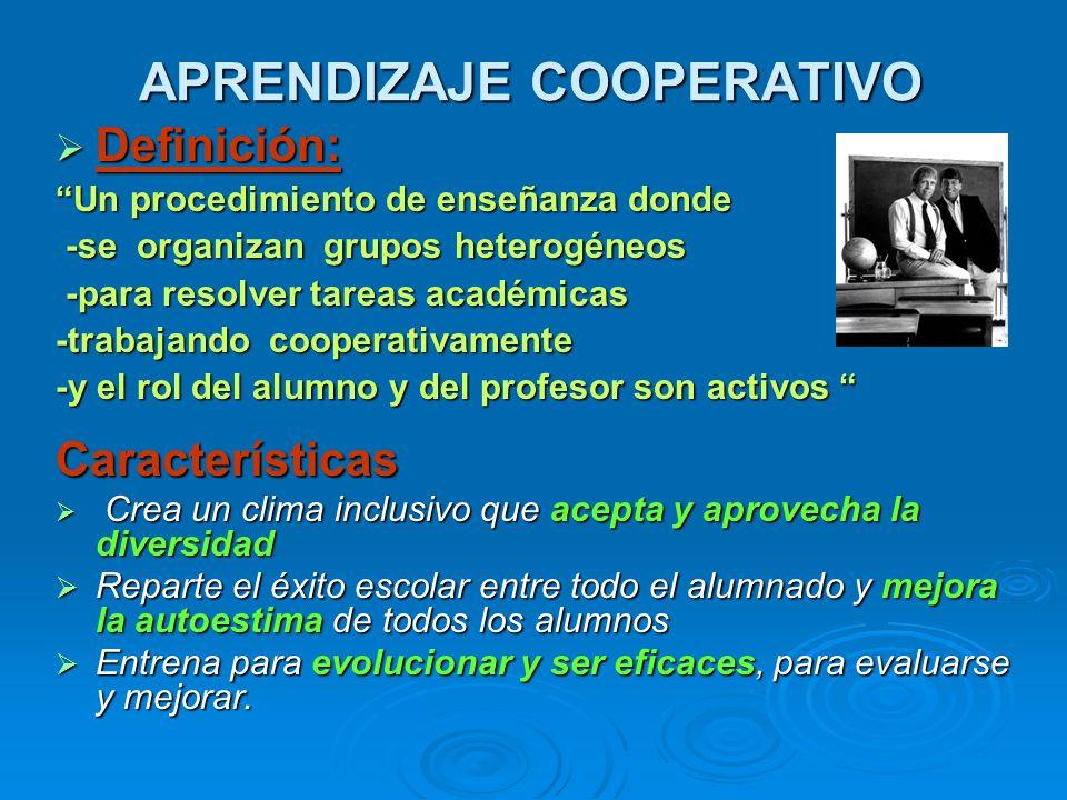 APRENDIZAJE COOPERATIVO Definición: Definición: Un procedimiento de enseñanza donde -se organizan grupos heterogéneos -se organizan grupos heterogéneo