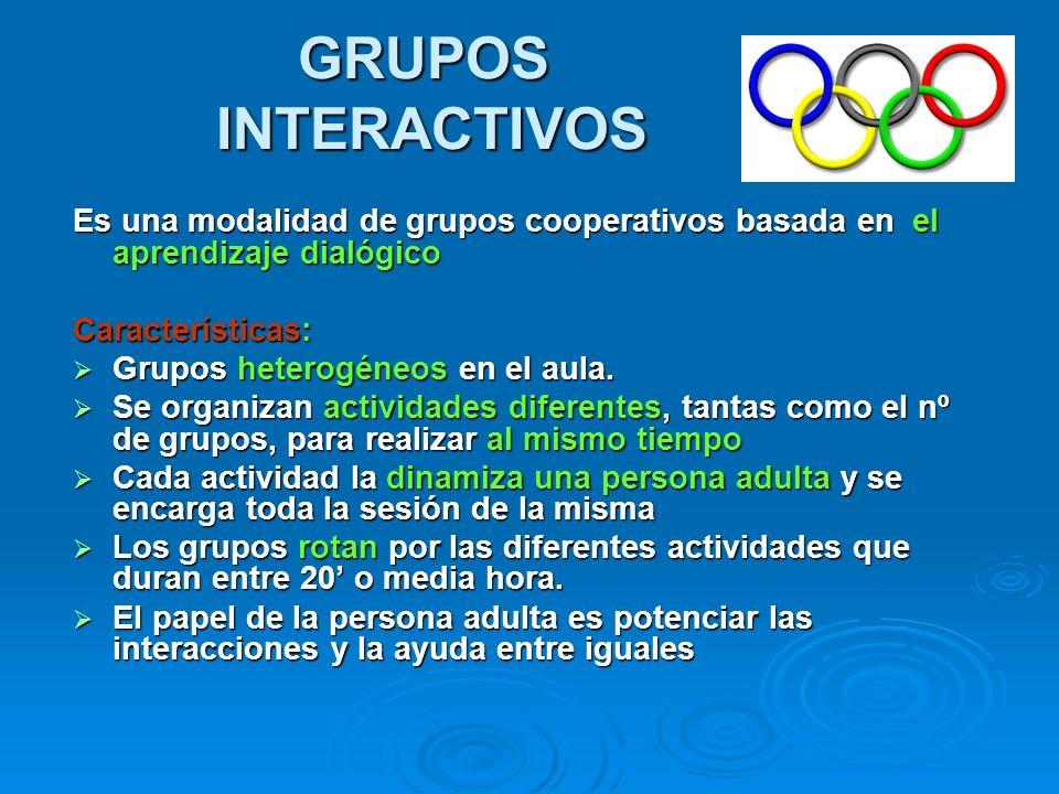 GRUPOS INTERACTIVOS Es una modalidad de grupos cooperativos basada en el aprendizaje dialógico Características: Grupos heterogéneos en el aula. Grupos