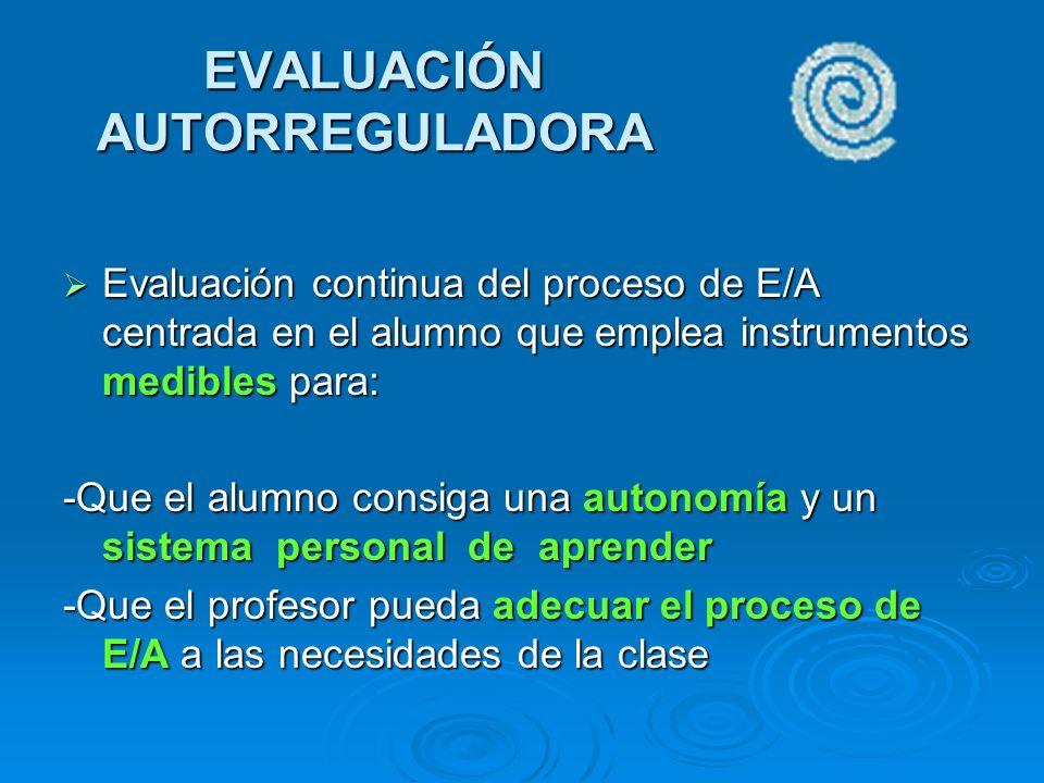 EVALUACIÓN AUTORREGULADORA Evaluación continua del proceso de E/A centrada en el alumno que emplea instrumentos medibles para: Evaluación continua del