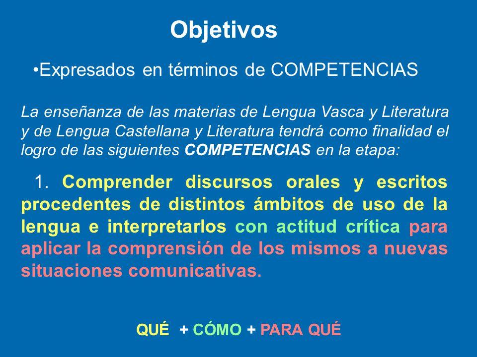 La enseñanza de las materias de Lengua Vasca y Literatura y de Lengua Castellana y Literatura tendrá como finalidad el logro de las siguientes COMPETE