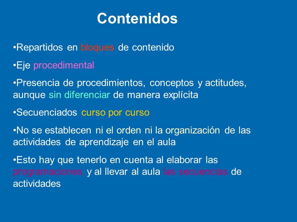 Contenidos Repartidos en bloques de contenido Eje procedimental Presencia de procedimientos, conceptos y actitudes, aunque sin diferenciar de manera e