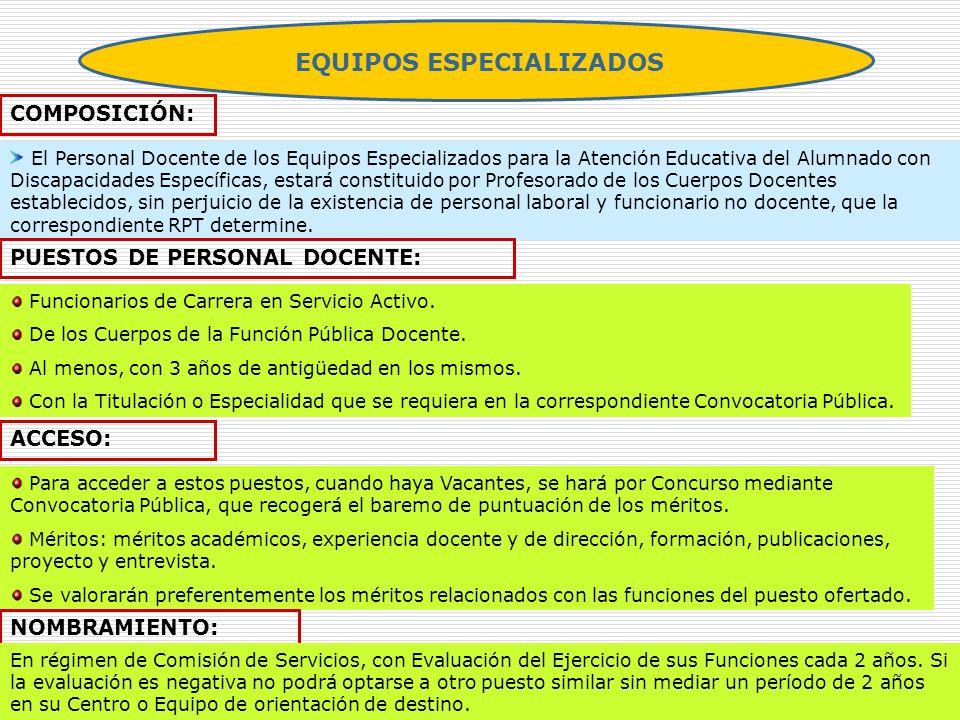 EQUIPOS ESPECIALIZADOS COMPOSICIÓN: El Personal Docente de los Equipos Especializados para la Atención Educativa del Alumnado con Discapacidades Espec