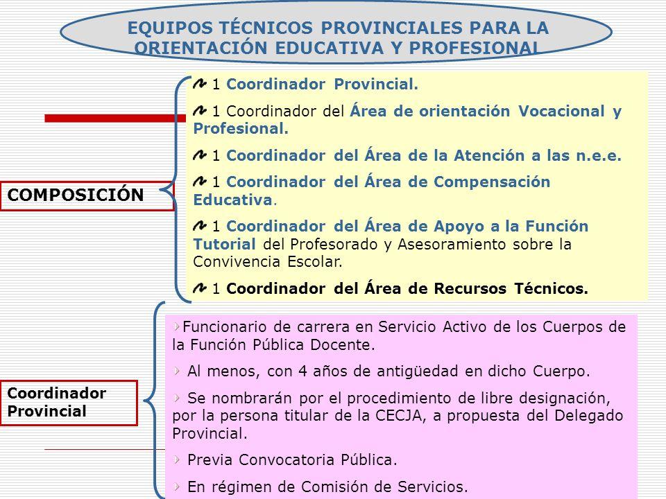 EQUIPOS TÉCNICOS PROVINCIALES PARA LA ORIENTACIÓN EDUCATIVA Y PROFESIONAL COMPOSICIÓN 1 Coordinador Provincial. 1 Coordinador del Área de orientación