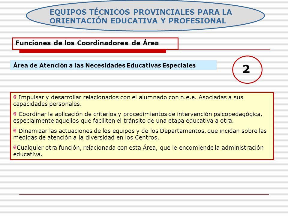 EQUIPOS TÉCNICOS PROVINCIALES PARA LA ORIENTACIÓN EDUCATIVA Y PROFESIONAL Funciones de los Coordinadores de Área Área de Atención a las Necesidades Ed