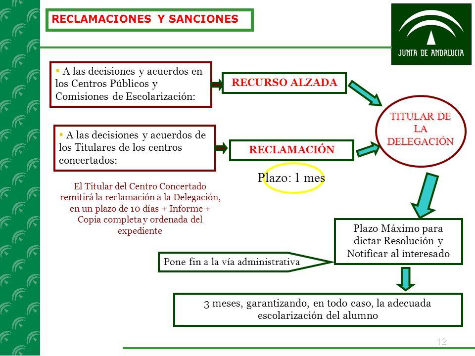12 RECLAMACIONES Y SANCIONES A las decisiones y acuerdos en los Centros Públicos y Comisiones de Escolarización: TITULAR DE LA DELEGACIÓN RECURSO ALZA