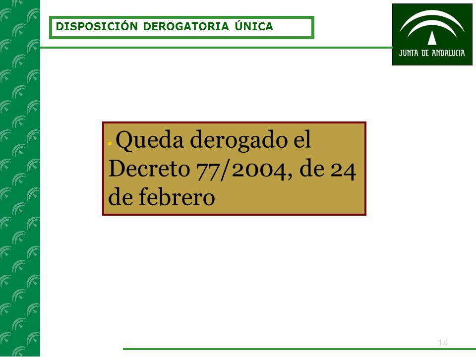14 DISPOSICIÓN DEROGATORIA ÚNICA Queda derogado el Decreto 77/2004, de 24 de febrero