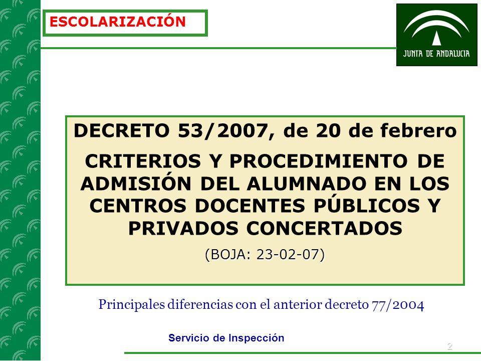2 ESCOLARIZACIÓN DECRETO 53/2007, de 20 de febrero CRITERIOS Y PROCEDIMIENTO DE ADMISIÓN DEL ALUMNADO EN LOS CENTROS DOCENTES PÚBLICOS Y PRIVADOS CONCERTADOS (BOJA: 23-02-07) Servicio de Inspección Principales diferencias con el anterior decreto 77/2004