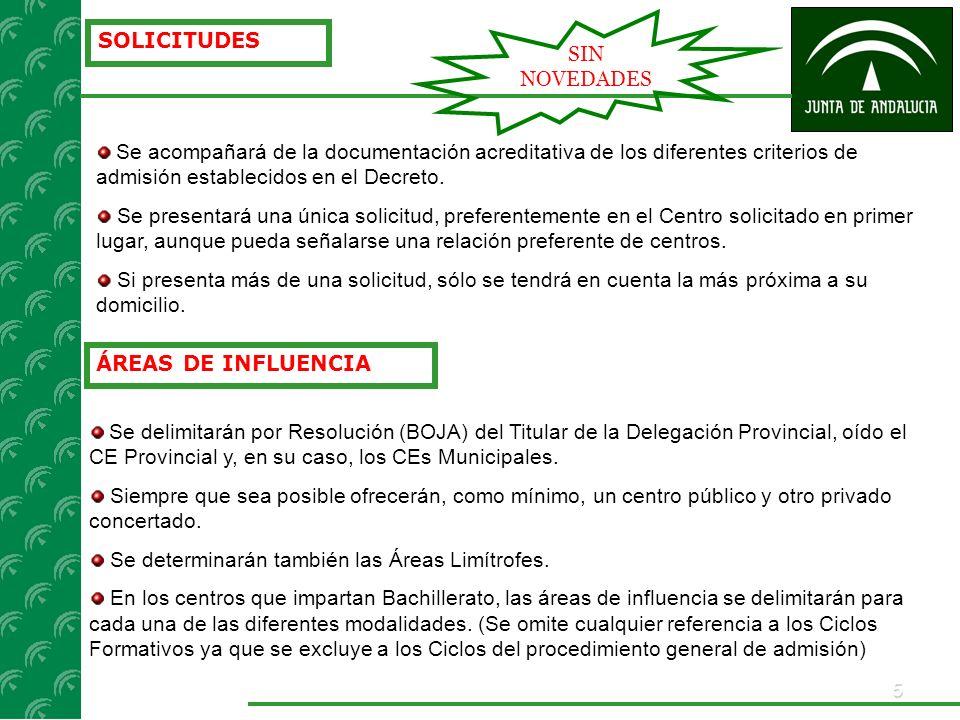 5 SOLICITUDES Se acompañará de la documentación acreditativa de los diferentes criterios de admisión establecidos en el Decreto. Se presentará una úni