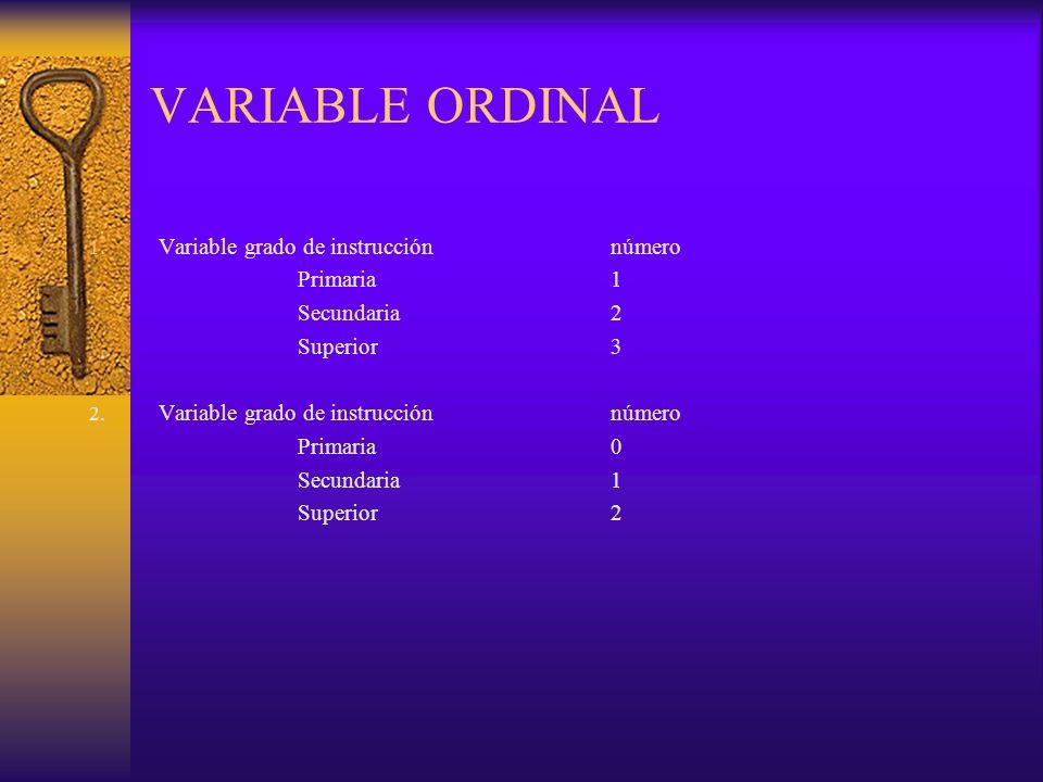 VARIABLE ORDINAL 1. Variable grado de instrucciónnúmero Primaria1 Secundaria2 Superior3 2. Variable grado de instrucciónnúmero Primaria0 Secundaria1 S