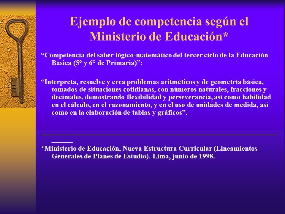 Ejemplo de competencia según el Ministerio de Educación* Competencia del saber lógico-matemático del tercer ciclo de la Educación Básica (5° y 6° de P