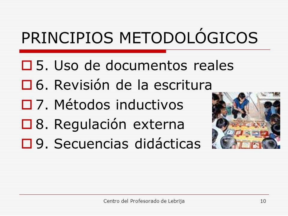 Centro del Profesorado de Lebrija10 PRINCIPIOS METODOLÓGICOS 5. Uso de documentos reales 6. Revisión de la escritura 7. Métodos inductivos 8. Regulaci