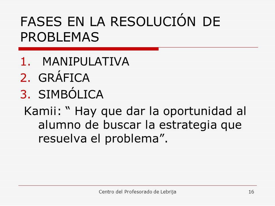 Centro del Profesorado de Lebrija16 FASES EN LA RESOLUCIÓN DE PROBLEMAS 1. MANIPULATIVA 2.GRÁFICA 3.SIMBÓLICA Kamii: Hay que dar la oportunidad al alu
