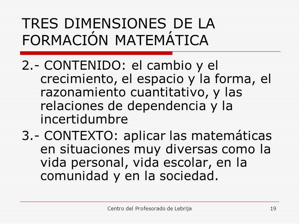 Centro del Profesorado de Lebrija19 TRES DIMENSIONES DE LA FORMACIÓN MATEMÁTICA 2.- CONTENIDO: el cambio y el crecimiento, el espacio y la forma, el r