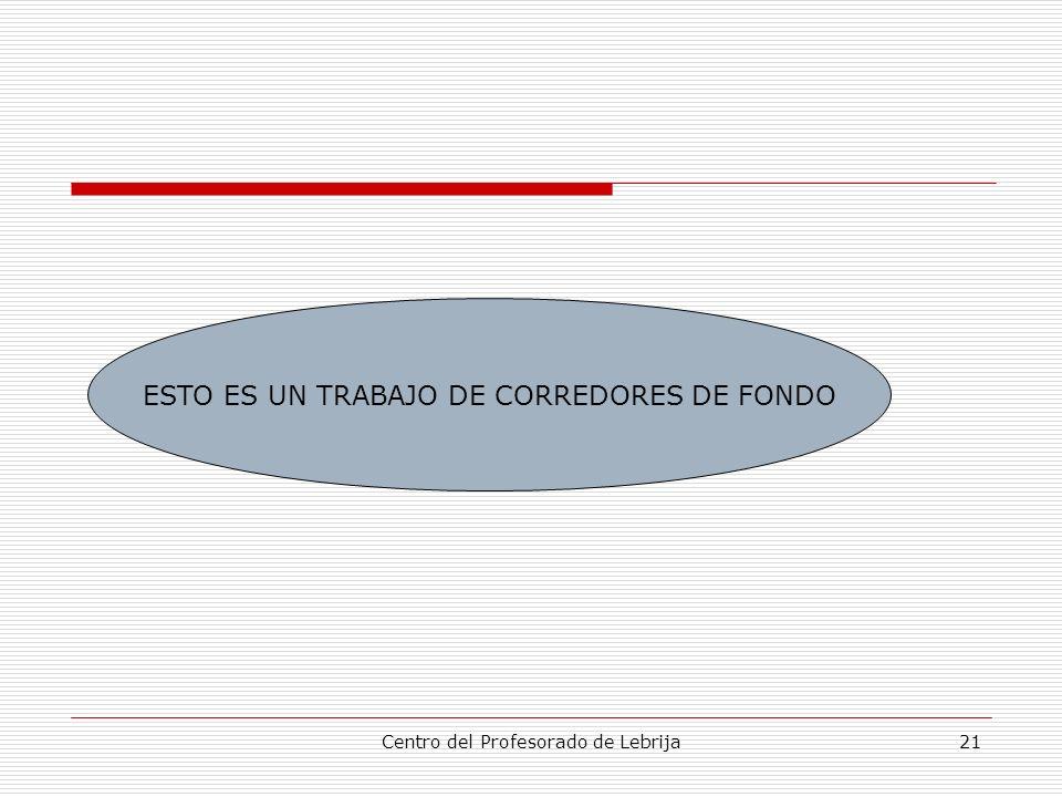 Centro del Profesorado de Lebrija21 ESTO ES UN TRABAJO DE CORREDORES DE FONDO