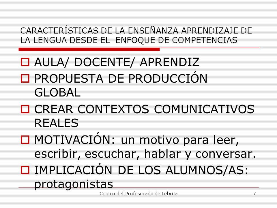 Centro del Profesorado de Lebrija8 CARACTERÍSTICAS DE LA ENSEÑANZA APRENDIZAJE DE LA LENGUA DESDE EL ENFOQUE DE COMPETENCIAS FUNCIONALIDAD DE LOS APRENDIZAJES CONCIENCIA DE APRENDIZAJE INTEGRACIÓN DE LAS CUATRO HABILIDADES OBJETIVOS DE APRENDIZAJE ORGANIZACIÓN COOPERATIVA DEL TRABAJO.