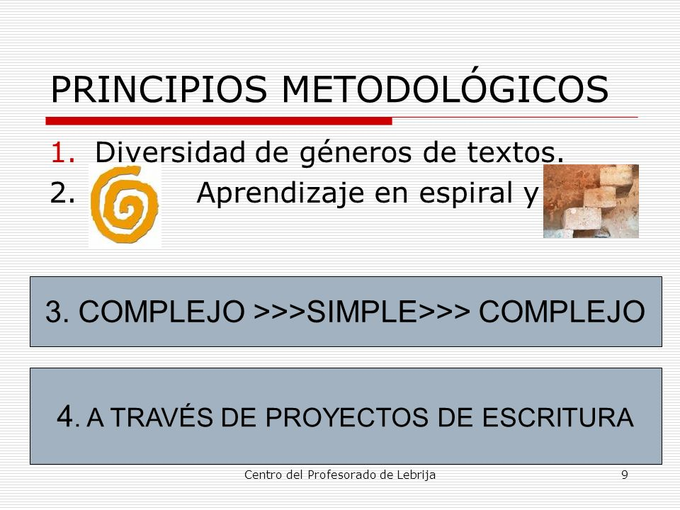 Centro del Profesorado de Lebrija9 PRINCIPIOS METODOLÓGICOS 1.Diversidad de géneros de textos. 2. Aprendizaje en espiral y no 3. COMPLEJO >>>SIMPLE>>>