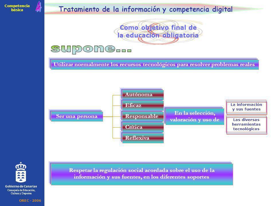 Consejería de Educación, Cultura y Deportes Tratamiento de la información y competencia digital Como objetivo final de la educación obligatoria Utiliz