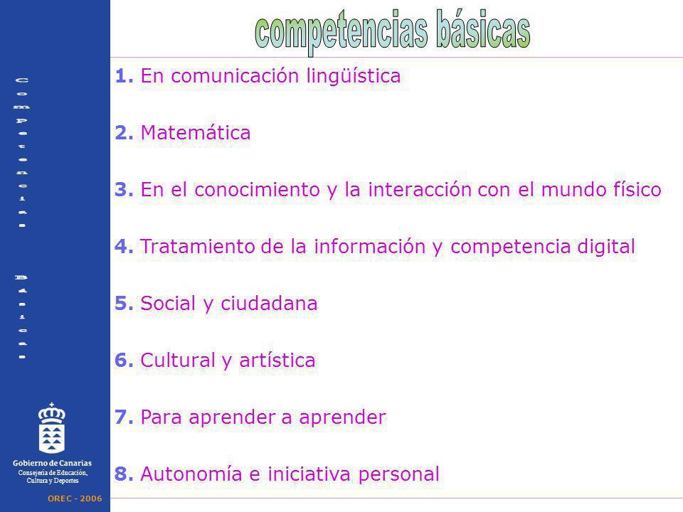1. En comunicación lingüística 2. Matemática 3. En el conocimiento y la interacción con el mundo físico 4. Tratamiento de la información y competencia